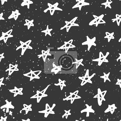 Jednolite wzór z ręcznie rysowane gwiazd