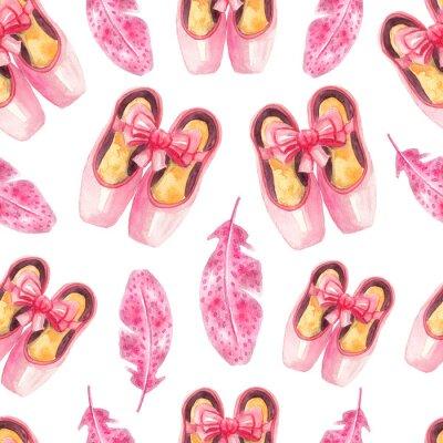 Tapeta Jednolite wzór z różowymi pointe buty i piór. Akwarela balet tła