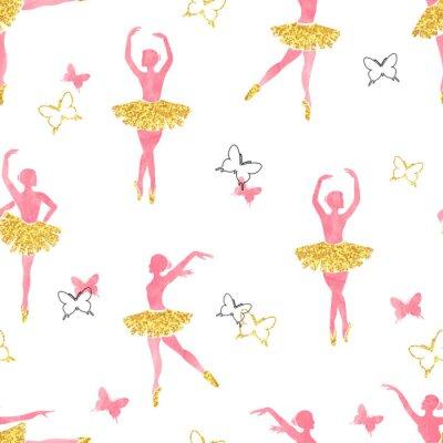 Tapeta Jednolite wzór z taniec baleriny i motyle w akwarelą różowe i błyszczące złote kolory. ilustracji wektorowych.