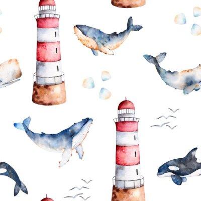 Tapeta Jednolite wzór z wysokiej jakości ręcznie malowane akwarelą wieloryby, muszle i latarni w pastelowych colors.Perfect swojego projektu, tekstury, blog, tapety, wzór, dzieci tekstury, papier pakowy prez
