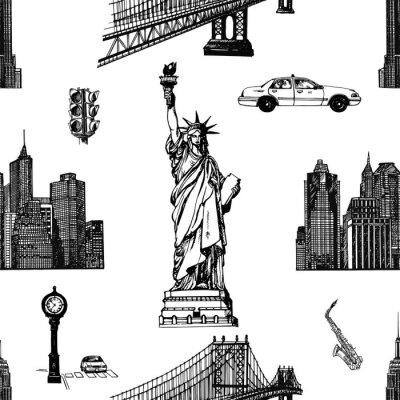 Tapeta Jednolity wzór ręcznie rysowane szkic stylu New York tematyce przedmiotów na białym tle. Ilustracji wektorowych.