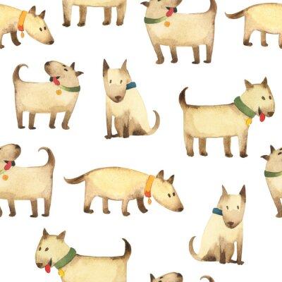 Tapeta Jednolity wzór szare psy w stylu dzieci na białym tle na przedszkole dla dzieci