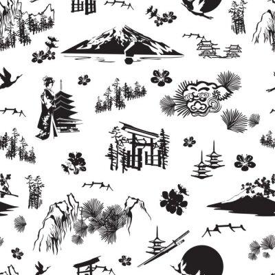 Tapeta Jednolity wzór z miniaturami symbolizującymi Japonię. Sakura, kimono, sosny, Fuji, torii, latarnie i inne.