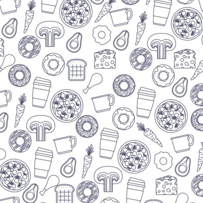 Tapeta jedzenie wzór w kolor niebieski sylwetka w białe tło wektor ilustracja