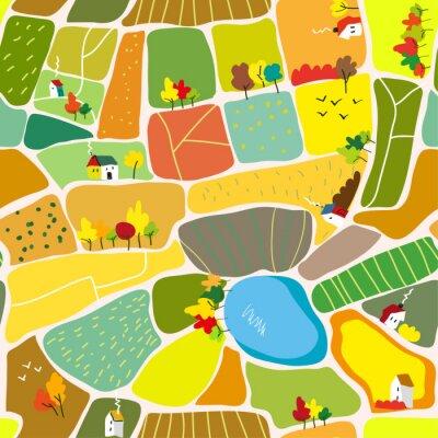Tapeta Jesień krajobraz wzór z domami, drzewami i jeziorem, turystyki mapa. Grafika wektorowa