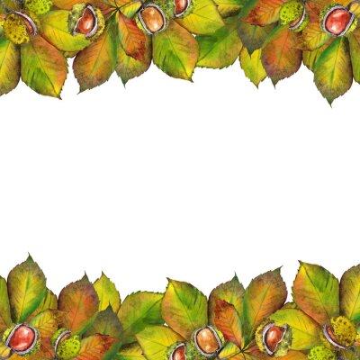 Tapeta Jesień liście kasztanowca. Akwarela na białym tle.