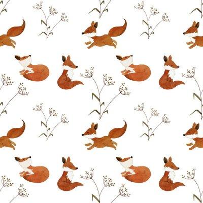 Tapeta Jesień wzór z lisów