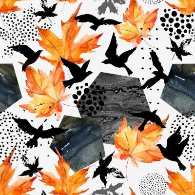 Tapeta Jesienią akwarela tła: liści, sylwetki ptaków, sześcioboków.