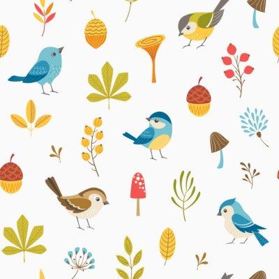 Tapeta Jesienią bezszwowych floral deseniu z małych ptaków, liści, jagód, grzybów i żołędzi.