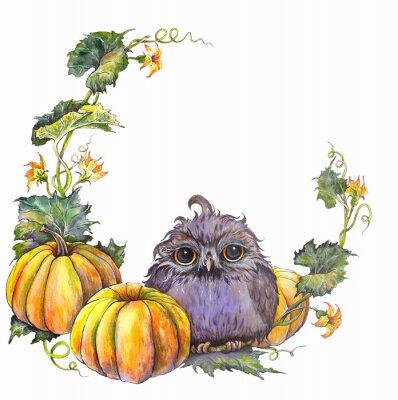Tapeta Jesienny wianek z sową, dyniami, liśćmi i kwiatami. Akwarela ilustracja na białym tle.
