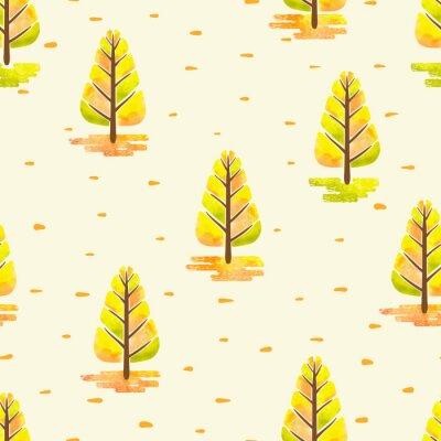 Tapeta Jesienny wzór z abstrakcyjnymi akwarelami drzew. Bezszwowych tła lasu wektora.
