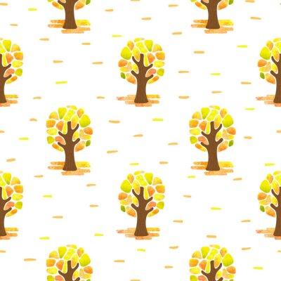 Tapeta Jesienny wzór z abstrakcyjnymi mozaikowymi drzewami. Bezszwowych tła lasu wektora.