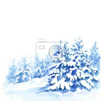Tapeta Jodły pod śniegiem, zimowy krajobraz lasu. Akwarela ilustracja dla kart okolicznościowych.