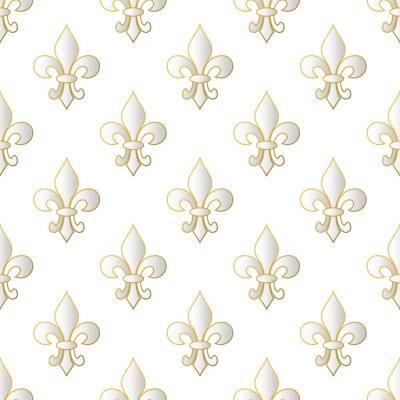 Tapeta Karnawał mardi gras wzór z fleur-de-lis. Mardi Gras niekończące się tło, tekstura, opakowanie. Wektorowa ilustracja EPS10.