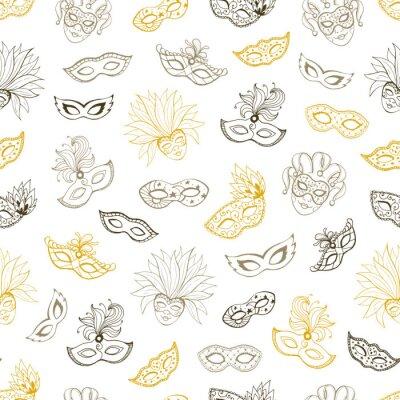 Tapeta Karnawał wenecki wzór. Wyłożone kafelkami tło z maskami do masqeurade karty, plakaty dekoracje. Ręcznie rysowane karnawałowe tapety.