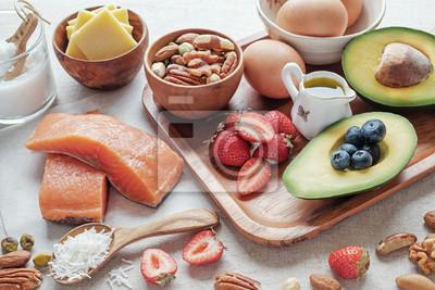 Tapeta Keto, dieta ketogenna, niska zawartość węglowodanów, wysoka zawartość tłuszczu, zdrowa żywność