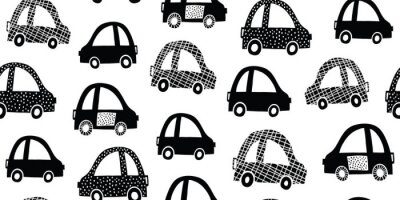 Tapeta Kids seamless pattern with black white cute cars