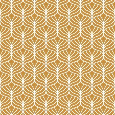 Tapeta Klasyczne złote liście w stylu art deco. Geometryczny stylowy ornament. Wektorowa antykwarska tekstura.