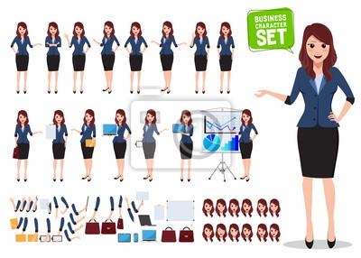 Tapeta Kobieta biznesu charakter wektor zestaw. Biurowa kobieta opowiada z różnorodnymi pozami i ręka gestami dla biznesowej prezentaci odizolowywającej w bielu. Ilustracji wektorowych.