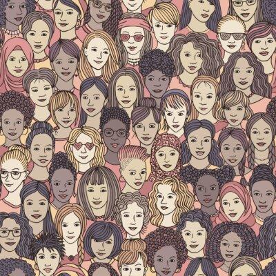 Tapeta Kobiety - ręcznie rysowane bez szwu wzór tłumu różnych kobiet z różnych środowisk etnicznych
