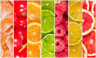 Kolaż letnich owoców świeżych