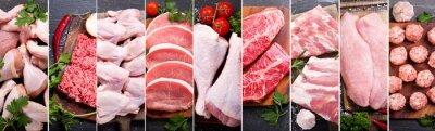 Tapeta kolaż żywności różnych świeżego mięsa i kurczaka