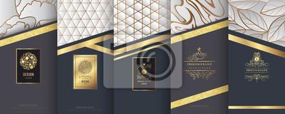 Tapeta Kolekcja elementów projektu, etykiety, ikona, ramki, do pakowania, projektowania luksusowych produktów. Wykonane ze złotej folii. Na białym tle na tle srebra i marmuru. ilustracji wektorowych