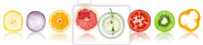 Tapeta Kolekcja świeżych plasterków owoców i warzyw