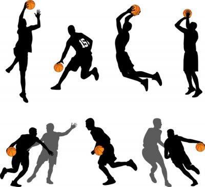 Tapeta kolekcja sylwetki graczy koszykówki - wektor