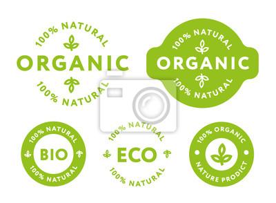Tapeta Kolekcja zielonych ekologicznych ekologicznych produktów ekolo- gicznych ekologicznych produktów spożywczych Pieczęć etykiety.