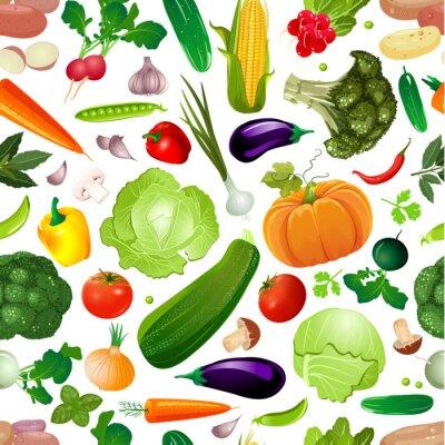 Tapeta kolorowa bezszwowa tekstura z świeżymi warzywami dla twój projekta