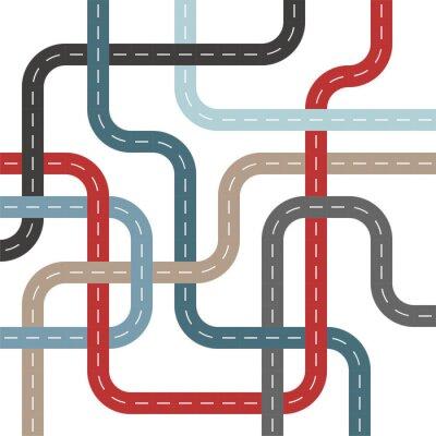 Tapeta Kolorowe dróg i ulic z Skrzyżowania drzewa wzór splotu