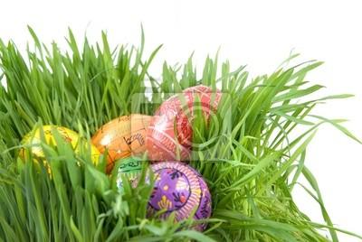 kolorowe pisanki w gniazdo z zielonej trawy na białym tle