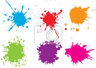 Tapeta Kolorowe plamy farby splatters.Paint set.Vector ilustracji.