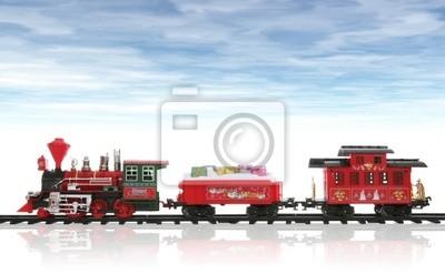 Kolorowe święto pociąg Boże Narodzenie w śniegu z nieba