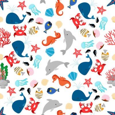 Tapeta Kolorowy kreskówka morze zwierząt bez szwu deseń ilustracji wektorowych