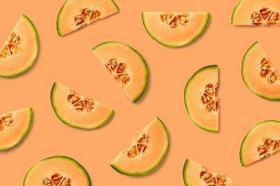 Tapeta Kolorowy owocowy wzór melonowi plasterki