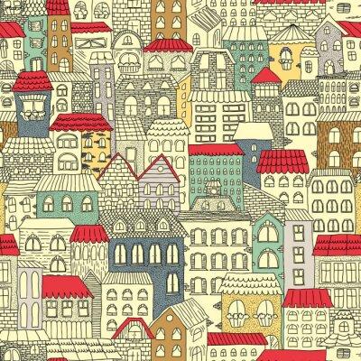 Tapeta Kolorowy szkic panoramy miasta. Vintage urocze domy. Rysowanie ręczne. Ilustracji wektorowych. Wzór.