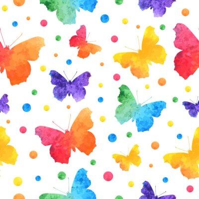 Tapeta Kolorowy wzór akwarela z słodkie motyle na białym tle. eps10.