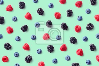 Tapeta Kolorowy wzór owoców dzikich jagód