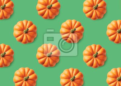 Kolorowy wzór pomarańczowe banie na zielonym tle