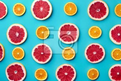 Kolorowy wzór z grejpfruta i pomarańczy plastry