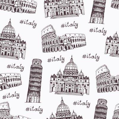 Tapeta Koloseum, Krzywa Wieża w Pizie, katedra św Piotra, ręcznie rysowane ilustracji z punktów orientacyjnych w Rzymie
