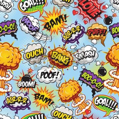 Tapeta Komiks wzór z dymki mowy i wybuchu na niebieskim tle.