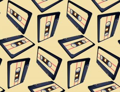 Tapeta Kompaktowy wzór kasety z pływającą lub latającą taśmą w widoku perspektywicznym