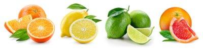 Tapeta Kompozycje owoców z liśćmi na białym tle. Ora