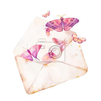 Tapeta Koperta Akwarela i motyl ilustracji. Ręcznie rysowane rocznika grafiki z izolowanym kopercie i różne latające motyle. Romantyczny sztuki raster