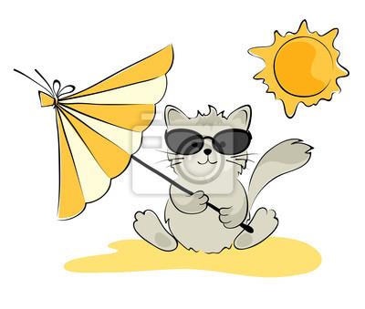 Tapeta Kot W Okularach Na Plaży Lato Zwierzęcy Wesoły Redropl