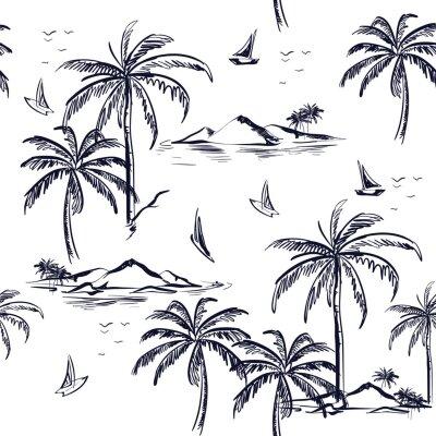 Tapeta Krajobraz z drzew palmowych, plaży i oceanu wektor ręcznie rysowane stylu.