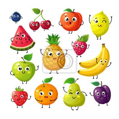 Tapeta Kreskówka śmieszne owoce. Szczęśliwy kiwi banan malinowa pomarańczowa wiśnia z twarzą. Letnie owoce i jagoda wektor znaków na białym tle. Owocowa kiwi i banana, pomarańcze i truskawki ilustracja